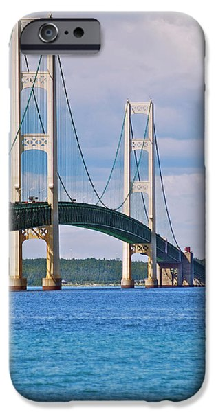 Strong America iPhone Cases - Mackinac Bridge iPhone Case by Michael Peychich