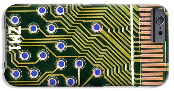 Circuit iPhone Cases - Macrophotograph Of Printed Circuit Board iPhone Case by Dr Jeremy Burgess