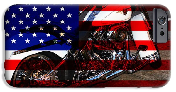 4th Of July iPhone Cases - Made In The USA . Harley-Davidson . 7D12757 iPhone Case by Wingsdomain Art and Photography