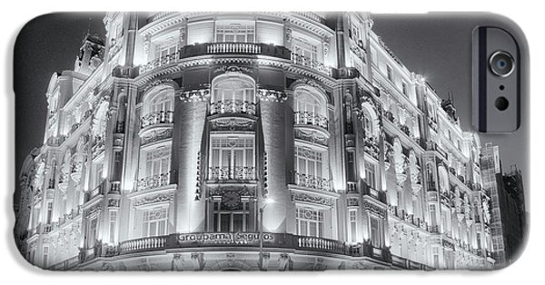 Built Structure iPhone Cases - Madrid at Night iPhone Case by Joan Carroll