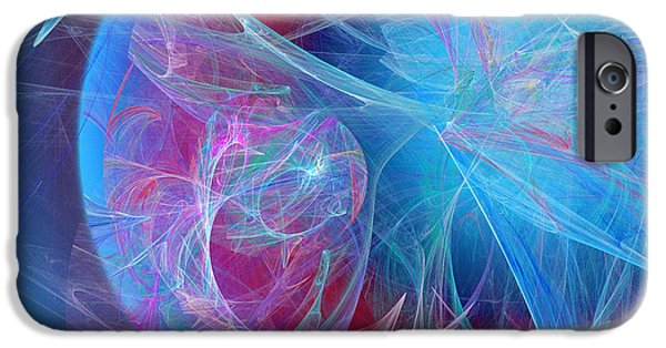 Fine Art Fractal iPhone Cases - Magenta Blue iPhone Case by Andee Design