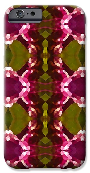 Abstract Digital Art iPhone Cases - Magenta Crystal Pattern iPhone Case by Amy Vangsgard
