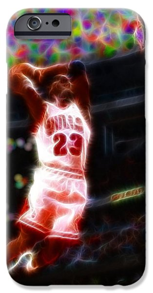 Mj Drawings iPhone Cases - Magical Michael Jordan White Jersey iPhone Case by Paul Van Scott
