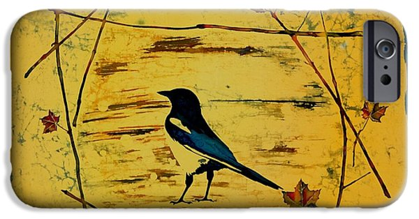Wax Tapestries - Textiles iPhone Cases - Magpie Framed in Maple iPhone Case by Carolyn Doe