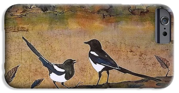 Birds Tapestries - Textiles iPhone Cases - Magpies in the last of Autumns Leaves iPhone Case by Carolyn Doe