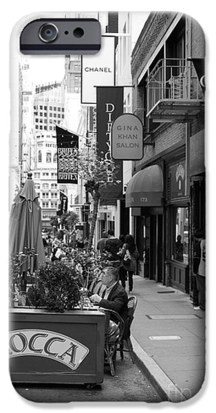 Maiden Lane San Francisco California - 5D19376 - Black and White iPhone Case by Wingsdomain Art and Photography