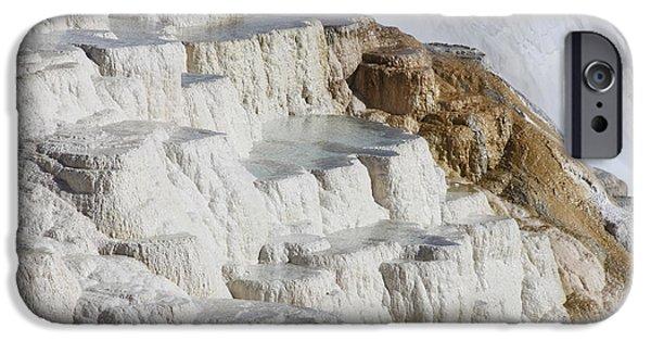 Mammoth Terrace iPhone Cases - Main Travertine Sinter Terrace. Mammoth iPhone Case by Richard Roscoe