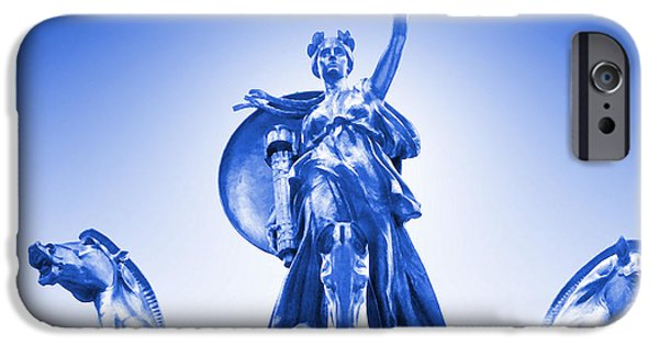 Maine iPhone Cases - Maine Monument  in Blue iPhone Case by Mike McGlothlen