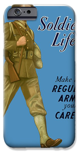 Patriotic Photographs iPhone Cases - Make The Regular Army Your Career iPhone Case by War Is Hell Store