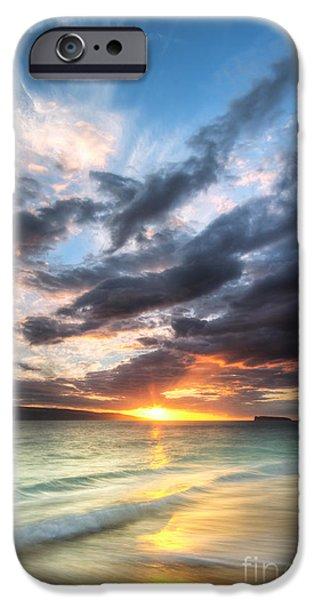 Ocean Sunset iPhone Cases - Makena Beach Maui Hawaii Sunset iPhone Case by Dustin K Ryan