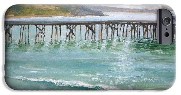 Malibu Paintings iPhone Cases - Malibu Pier iPhone Case by Sharon Weaver