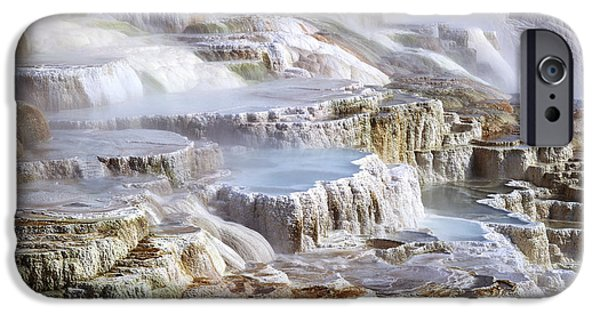 Mammoth Terrace iPhone Cases - Mammoth Hot Springs Mineral Terrace iPhone Case by G. Brad Lewis