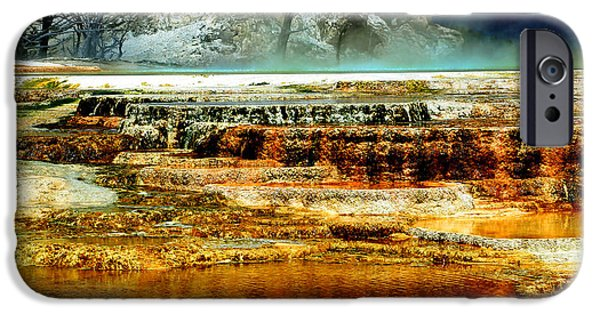 Mammoth Terrace iPhone Cases - Mammoth Terrace - Yellowstone iPhone Case by Ellen Heaverlo