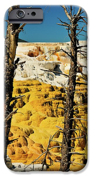 Mammoth Terrace iPhone Cases - Mammoth Upper Terrace iPhone Case by Greg Norrell