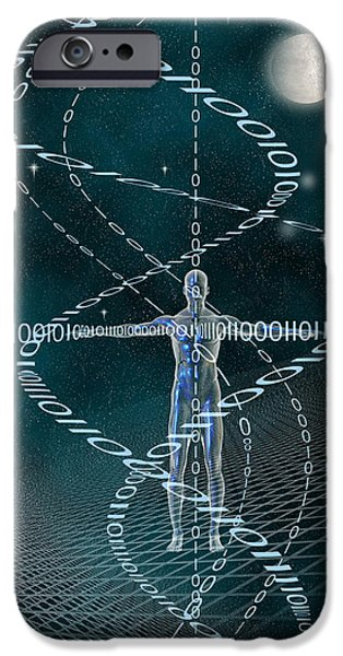 Cyberspace iPhone Cases - Man and Cyberspace iPhone Case by Carol and Mike Werner