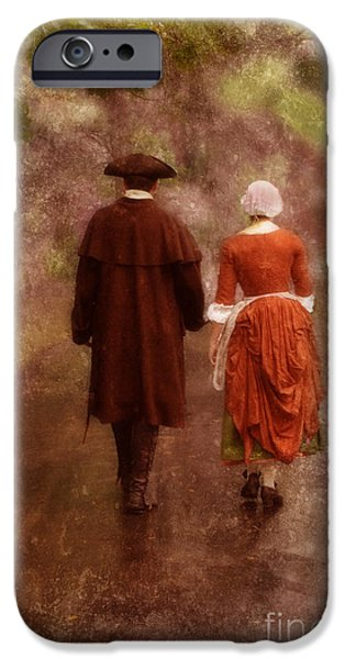 Colonial Man Photographs iPhone Cases - Man and Woman in 18th Century Clothing Walking iPhone Case by Jill Battaglia