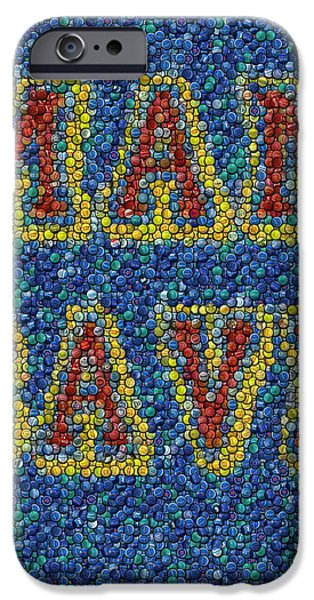 Man Cave Bottle Cap Mosaic iPhone Case by Paul Van Scott