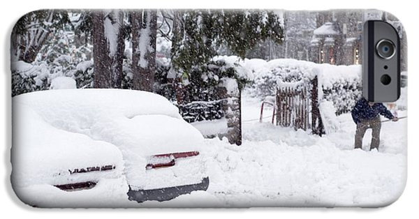 Working Conditions iPhone Cases - Man Clearing Snow, Braemar, Scotland iPhone Case by Duncan Shaw