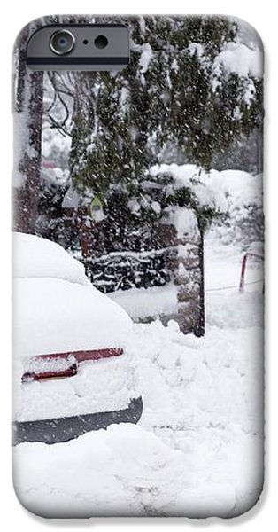 Man Clearing Snow, Braemar, Scotland iPhone Case by Duncan Shaw