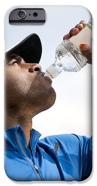Man Drinking Bottled Water iPhone Case by