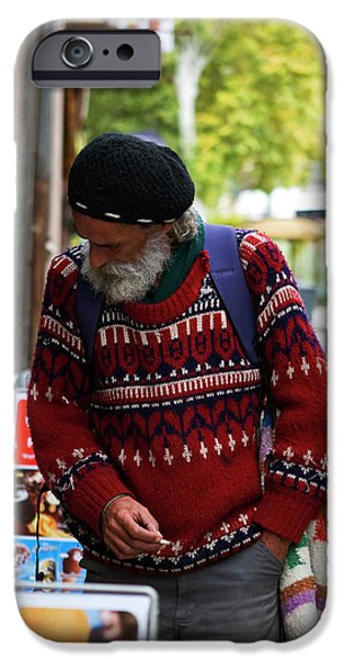 Man in a Red Sweater iPhone Case by Lorraine Devon Wilke