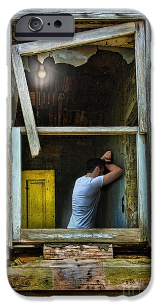 Condemned iPhone Cases - Man in Ruined House iPhone Case by Jill Battaglia
