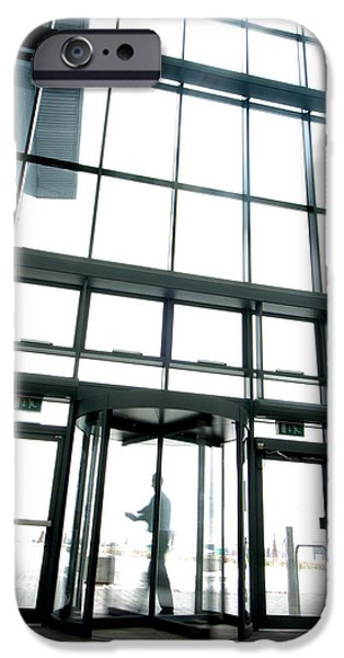 Glass Wall iPhone Cases - Man Leaving Office iPhone Case by Crown Copyrighthealth & Safety Laboratory