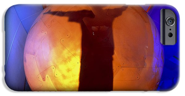 Virtual iPhone Cases - Man Silhouetted In The Virtual Reality Cybersphere iPhone Case by Volker Steger