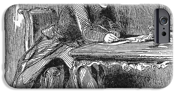 1850s iPhone Cases - MAN WRITING, c1850s iPhone Case by Granger