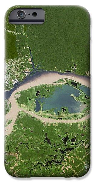 Manaus, Satellite Image iPhone Case by Planetobserver