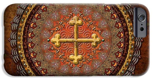 Ancient Scroll iPhone Cases - Mandala Armenian Cross iPhone Case by Bedros Awak