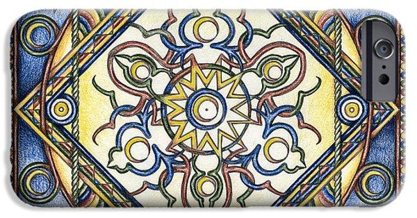 Buddhism Drawings iPhone Cases - Mandala of the Sun iPhone Case by Hakon Soreide