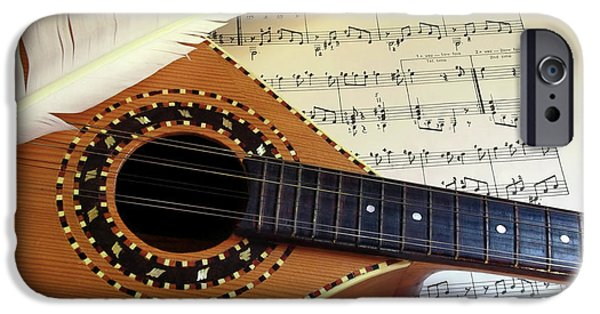 Sheets iPhone Cases - Mandolin and Partiture iPhone Case by Carlos Caetano