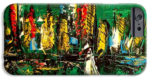 Red Abstract iPhone Cases - Manhattan Green iPhone Case by Mark Kazav