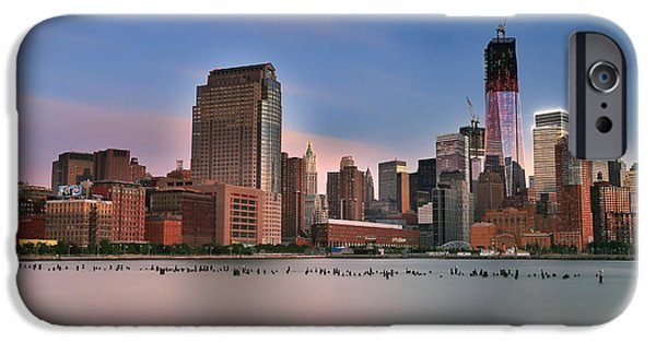 Hudson River iPhone Cases - Manhattan Skyline iPhone Case by Larry Marshall