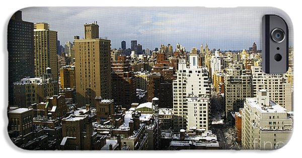 Snowy Day iPhone Cases - Manhattan View on a Winter Day iPhone Case by Madeline Ellis
