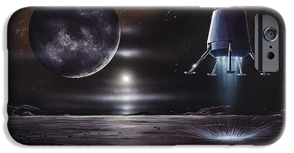 Launching System iPhone Cases - Manned Mission To Charon, Artwork iPhone Case by Richard Bizley
