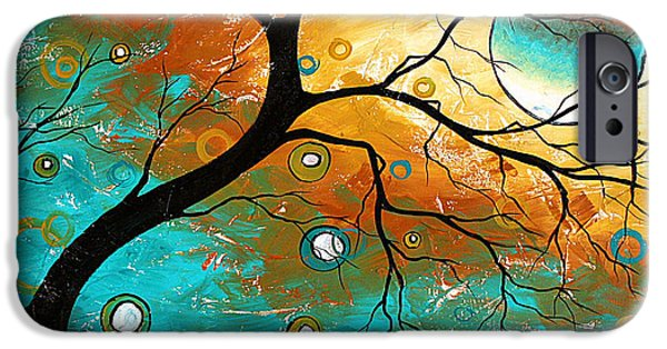 Fine Art Abstract iPhone Cases - Many Moons Ago by MADART iPhone Case by Megan Duncanson