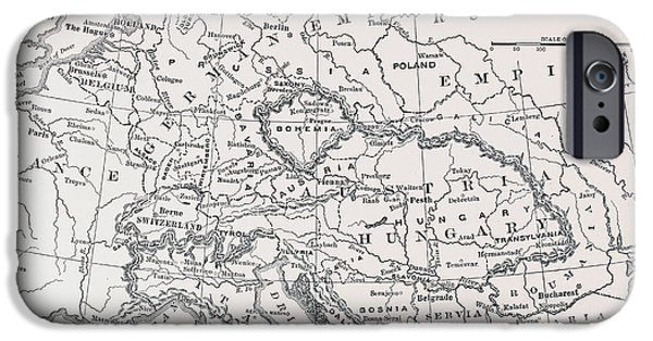 Germany Map iPhone Cases - Map: Germany And Austria iPhone Case by Granger