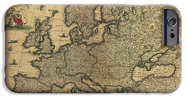 Zeus iPhone Cases - Map Of Europe, 1700 iPhone Case by Photo Researchers