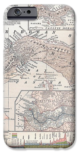 1907 iPhone Cases - Map: Panama, 1907 iPhone Case by Granger