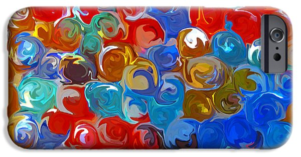Gometric Shapes iPhone Cases - Marble Collection abstract iPhone Case by Debbie Portwood
