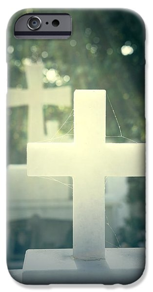 Marble iPhone Cases - Marble Crosses iPhone Case by Joana Kruse