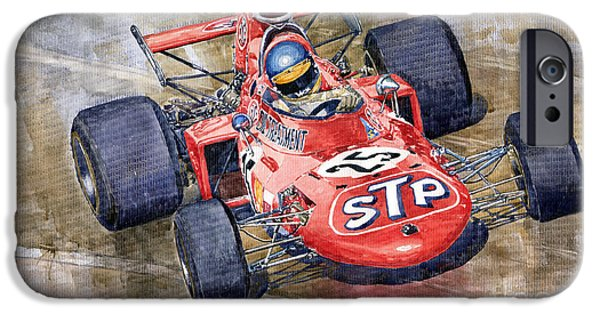 Racing iPhone Cases - March 711 Ford Ronnie Peterson GP Italia 1971 iPhone Case by Yuriy  Shevchuk
