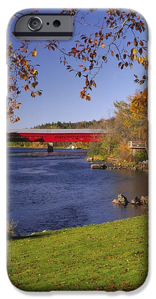 Covered Bridge iPhone Cases - Marchand Covered Bridge, Wakefield iPhone Case by Yves Marcoux