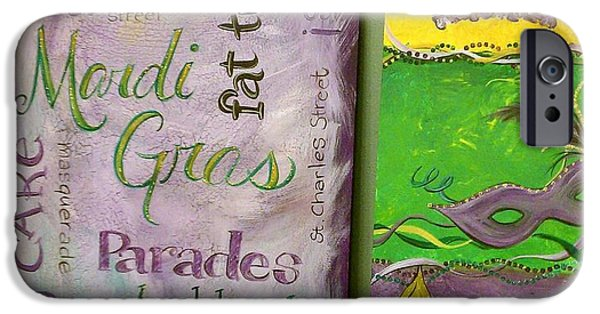 Mardi Gras Paintings iPhone Cases - Mardi Gras Pair iPhone Case by Jessica Stuntz