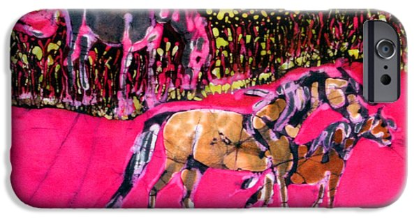 Child Tapestries - Textiles iPhone Cases - Mare and Foal iPhone Case by Carol Law Conklin