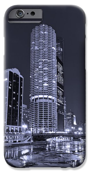 Marina City on the Chicago River in B and W iPhone Case by Steve Gadomski