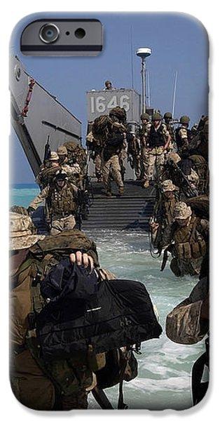 Marines Disembark A Landing Craft iPhone Case by Stocktrek Images