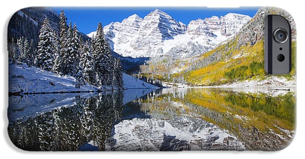 Reflecting Trees iPhone Cases - Maroon Lake and Bells 1 iPhone Case by Ron Dahlquist - Printscapes